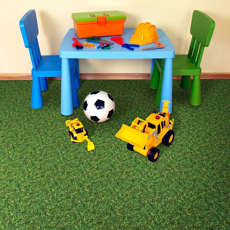 Perfection Floor Tile Green Grass in a playroom