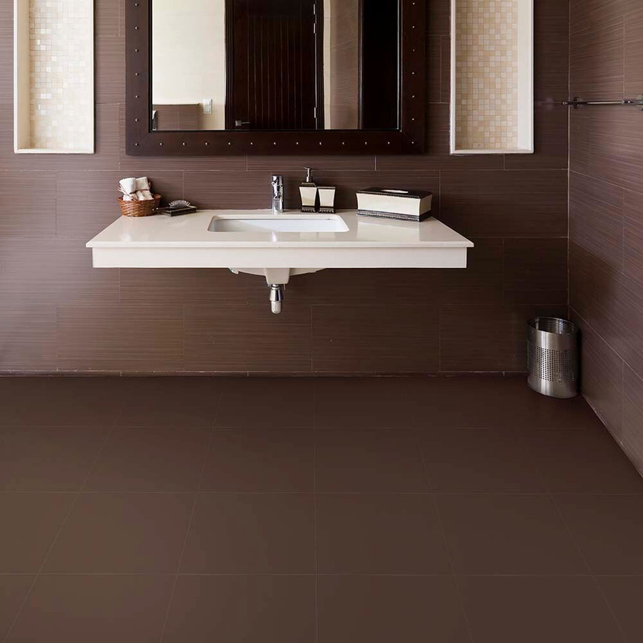 Perfection Floor Tile Leather Look Rawhide in a bathroom