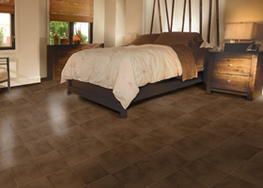 Perfection Floor Tile Leather Look Rawhide in a bedroom