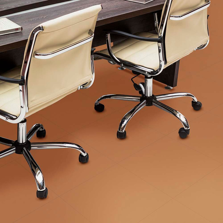 Perfection Floor Tile Leather Look Flexibile Interlocking PVC Tile Camel in an office