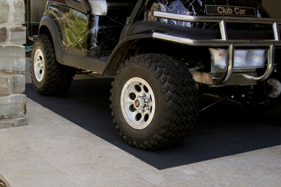 RoughTex Diamond Deck Rollout Flooring 2.9mm Overall Thickness - Black with Golf Cart