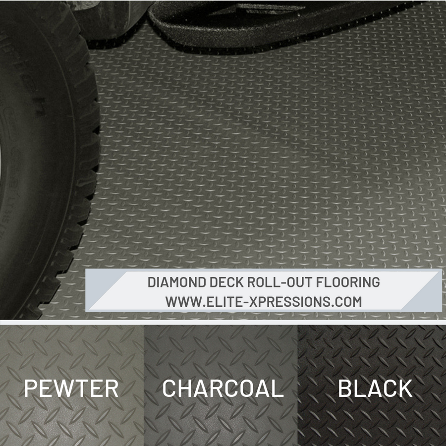 RoughTex Diamond Deck Rollout Flooring 2.9mm Overall Thickness - available colors: Pewter, Charcoal, Black