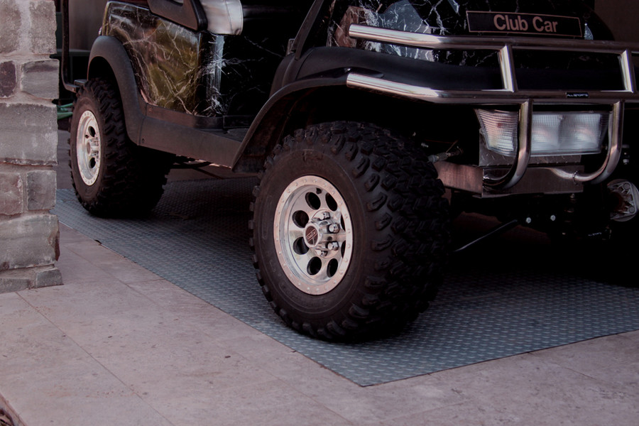 RoughTex Diamond Deck Rollout Flooring 2.9mm Overall Thickness - Pewter with Golf Cart
