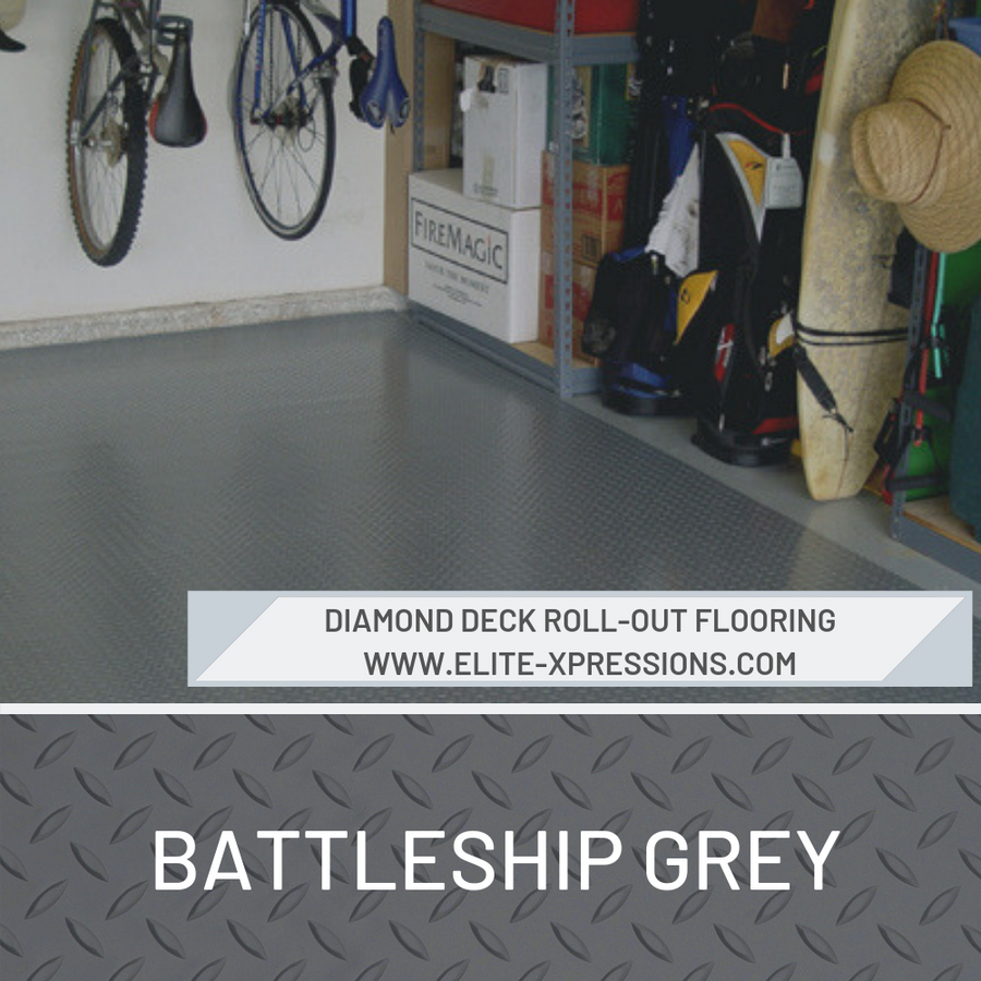 Diamond Deck Roll-Out Flooring 2.9 mm Overall Thickness - Battleship Grey