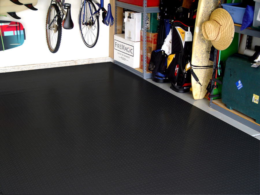 RoughTex Diamond Deck Rollout Flooring 2.9mm Overall Thickness - Black in Garage