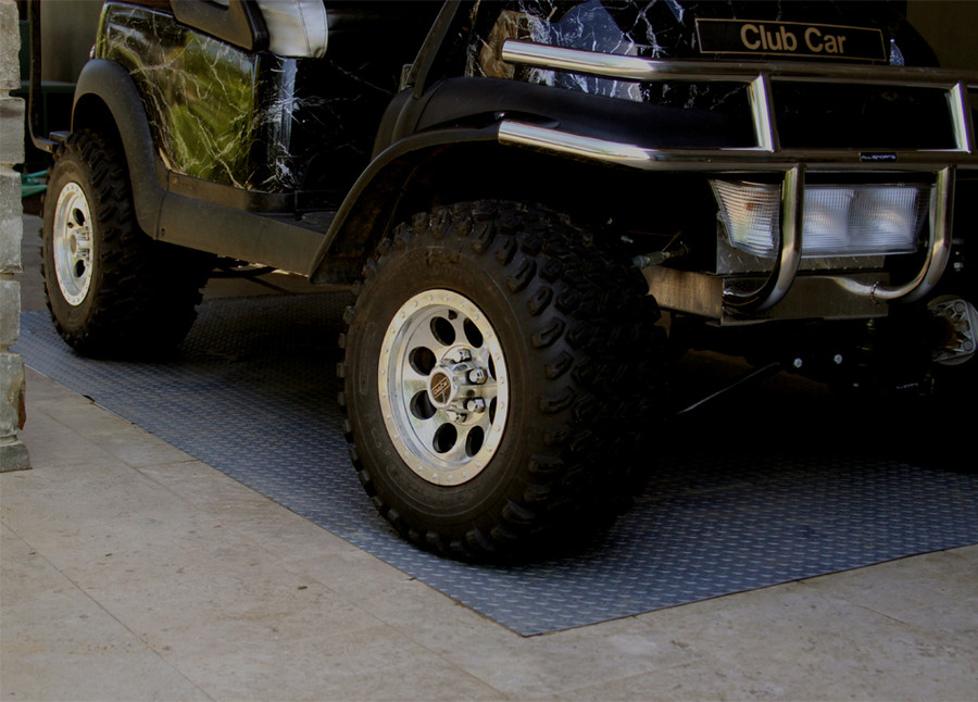 RoughTex Diamond Deck Rollout Flooring 2.9mm Overall Thickness - Charcoal with Golf Cart