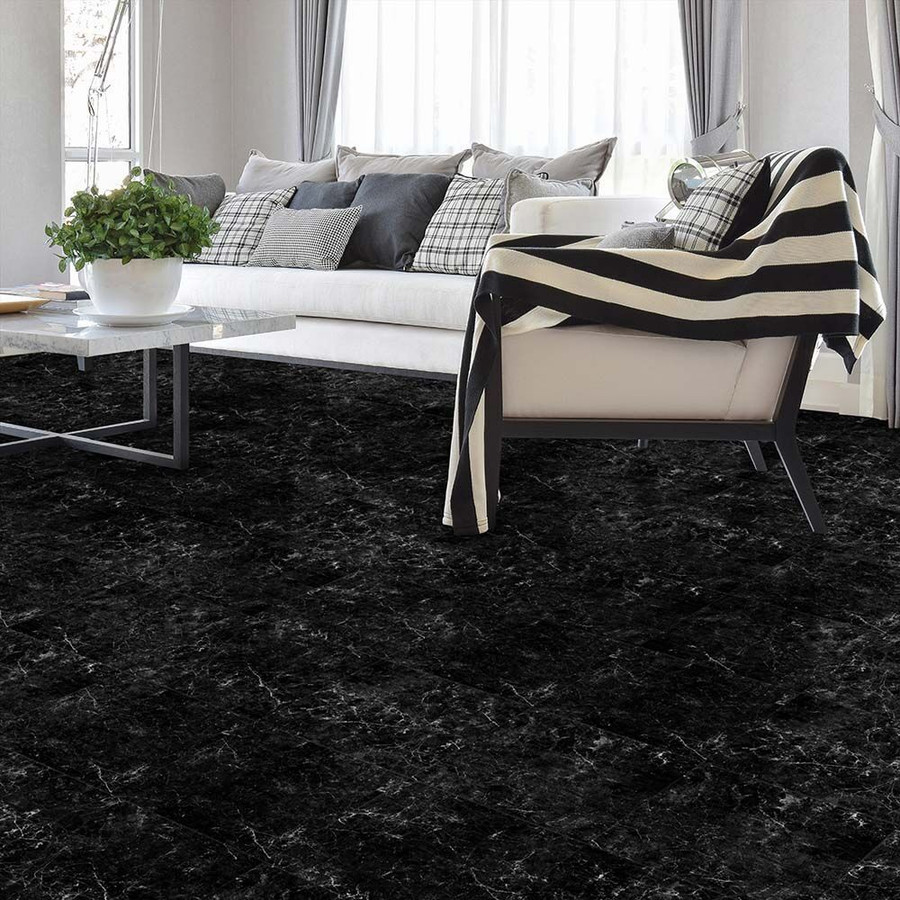 Perfection Floor Tile Natural Stone Marble Cambrian Black - living room flooring.