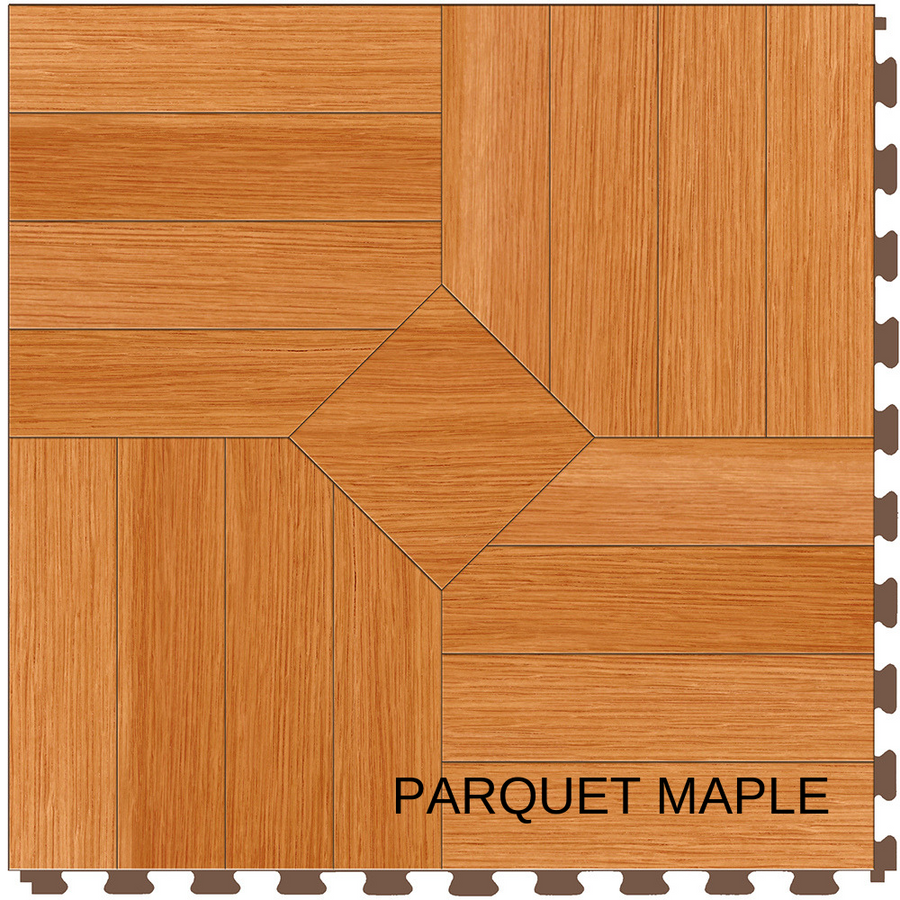 "Perfection Floor Wood Grain Tile 20"" x 20"" x 5MM (6 Per CS) - Maple Parquet"