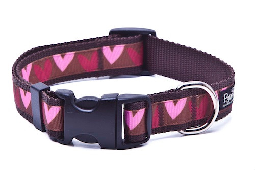 This Heart Collar is patterned is printed exclusively for Paw Paws USA and hand made in Greenville, SC