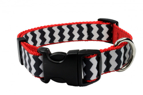 Chevron Dog Collar-Black/Red