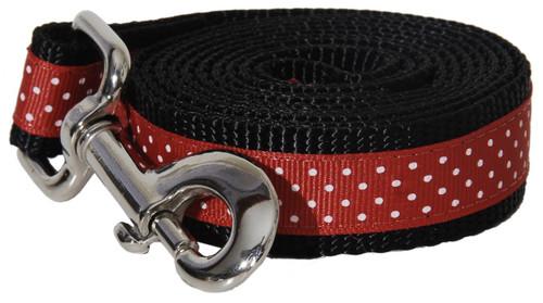Pembroke Polka Dot Dog Leash-Red