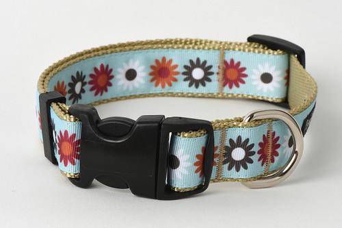 Hula Hoop Dog Collar - Hula Flowers on Tan