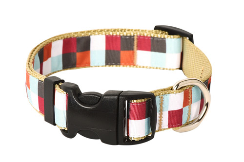 Hula Hoop Dog Collar - Hula Block on Tan