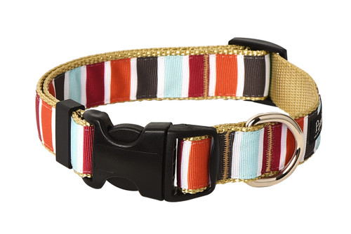 Hula Hoop Dog Collar - Hula Stripe on Tan