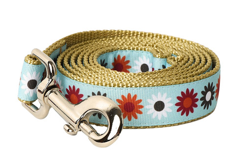 Hula Hoop Dog Leash - Hula Flowers on Tan