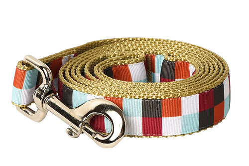 Hula Hoop Dog Leash - Hula Block on Tan
