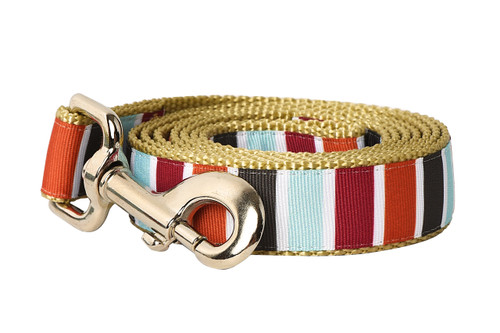 Hula Hoop Dog Leash - Hula Stripe on Tan
