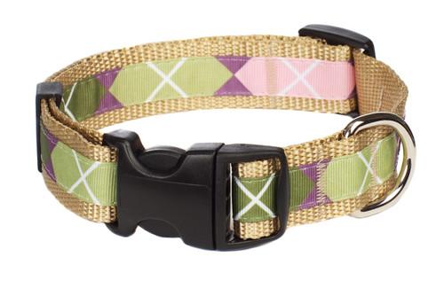 Sweet Pea Dog Collar - Pink Argyle on Tan