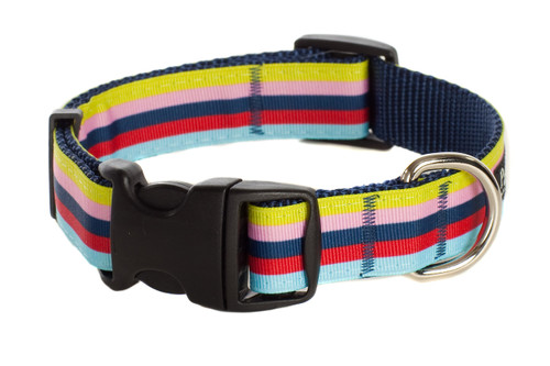 Paw Paws Bubble Gum Dog Collar - Yummy Gummy on Blue Stripe Collar