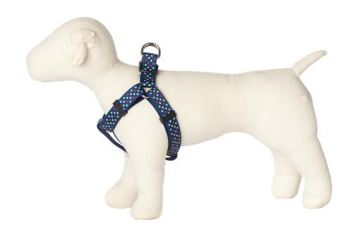 Bubble Gum Dog Harness - Tutti Frutti on Blue