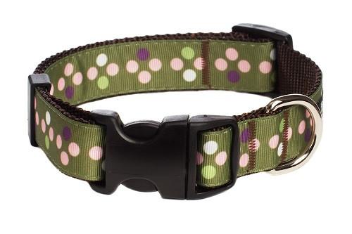 Sweet Pea Dog Collar - Pea Soup on Brown