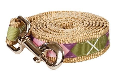 Sweet Pea Dog Leash - Pink Argyle on Tan