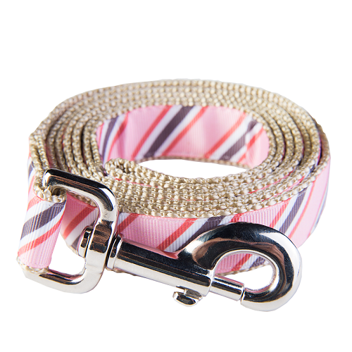 Yorkshire Dog Leash - Dad's Tie Pink on Tan