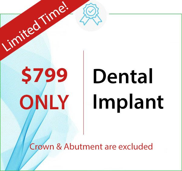 $799 ONLY for Dental Implant at your local dentist in Ann Arbor, Waterford, Ann Arbor Charter Township, Pittsfield Charter Township, Saline, Ypsilanti, Ypsilanti Charter Township, Auburn Hills, Berkley, Birmingham, Bloomfield Hills, Clarkston, Clawson, Commerce Township, Davisburg, Farmington, Franklin, Hazel Park, Highland, Holly, Huntington Woods, Keego Harbor, Lake Orion, Madison Heights, Milford, New Hudson, Novi, Oak Park, Oakland, Ortonville, Oxford, Pleasant Ridge, Pontiac, Rochester, Royal Oak, Troy, Union Lake, Walled Lake, West Bloomfield, White Lake, Wixom