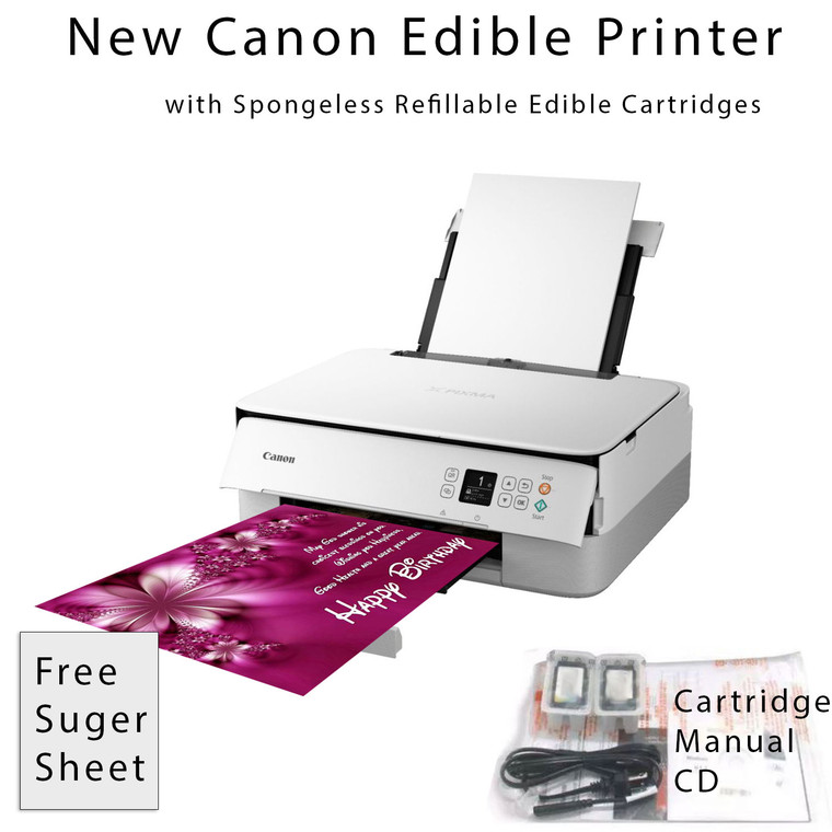 New Edible Canon Pixma TS5320 Wireless All-in-One Printer Bundle with Free Sugar Paper