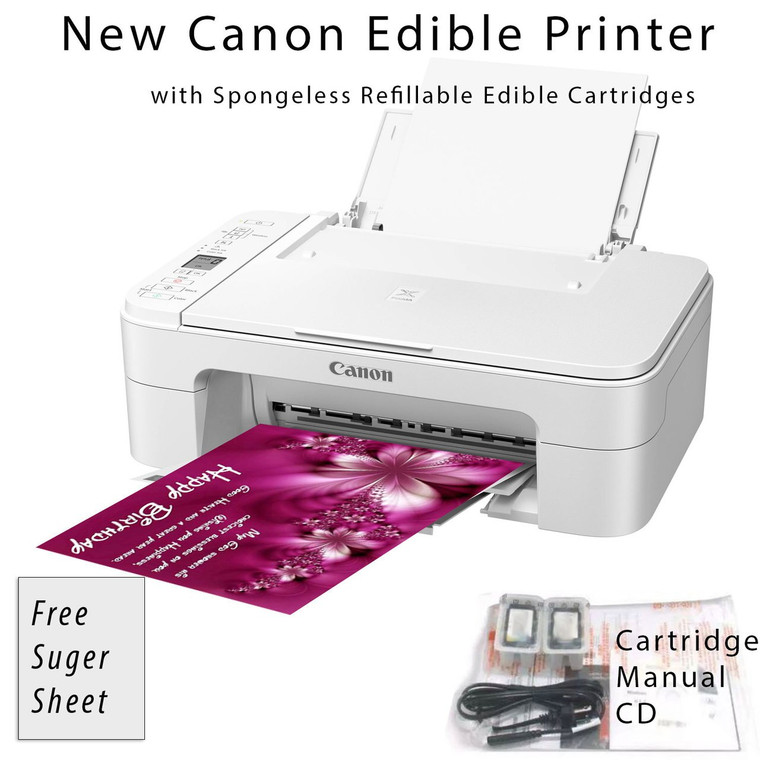 New Edible Canon Pixma MG2522 WHITE Wireless All-in-One Printer Bundle with Free Sugar Paper