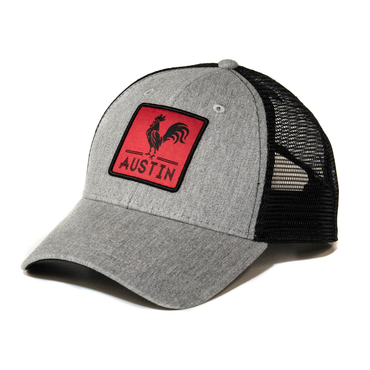 b7e4d788964ee Grey Black Austin Rooster Square Patch Trucker Hat - TYLER S