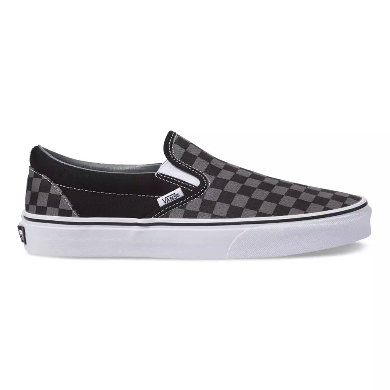 Vans Classic Checkerboard Slip On Shoes - Black/Pewter Check