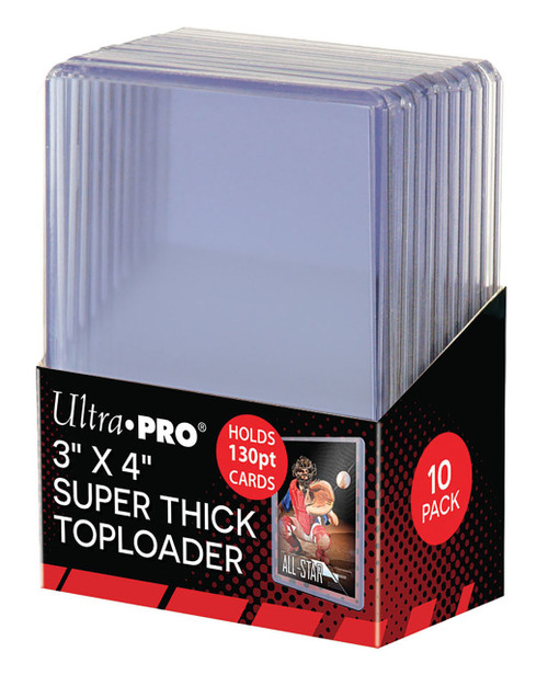"""10 Count Ultra Pro 3"""" X 4"""" 130 pt Super Thick Toploaders for sports cards"""