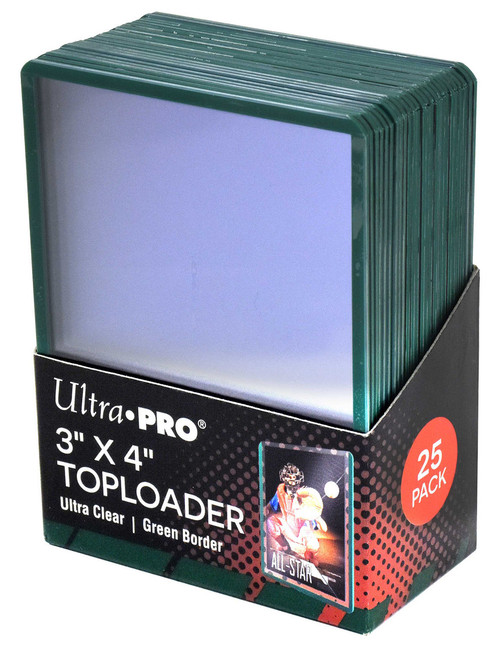 """25 Count Ultra Pro 3"""" x 4"""" Toploaders with Green Border sports card storage protection"""
