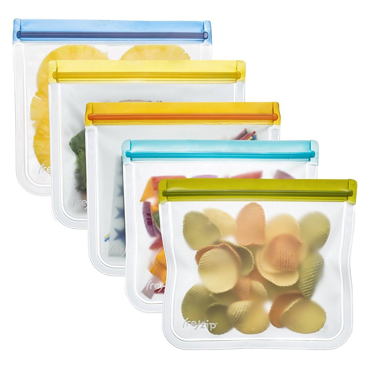 (re)zip Leakproof Reusable Lunch Storage Bags (5-Pack)