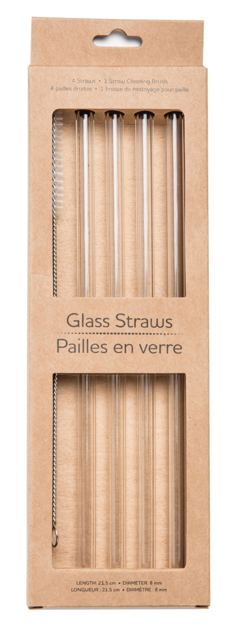 Life Without Waste Glass Drinking Straws (Pack of 4 + Brush)