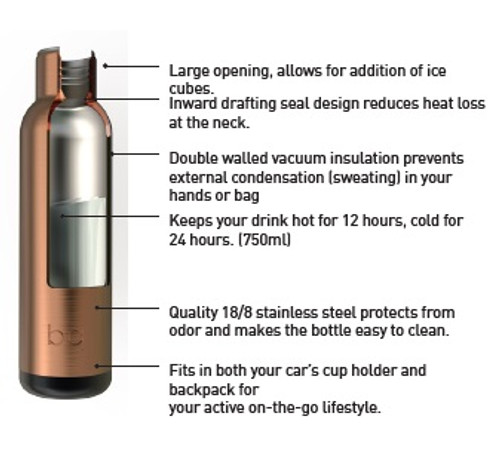 25 oz BQ Vacuum Insulated Stainless Steel Travel Bottle