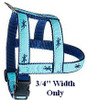 Whales White On Navy 1/2, 3/4 & 1.25 inch Dog & Cat Collar, Harness
