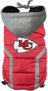 NFL Kansas City Chiefs Licensed Dog Puffer Vest Coat - S - 3X