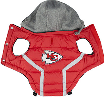 NFL Kansas City Chiefs Licensed Dog Puffer Vest Coat - S - 3X