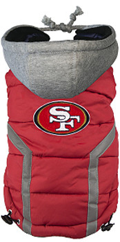 NFL San Francisco 49ers Licensed Dog Puffer Vest Coat - S - 3X