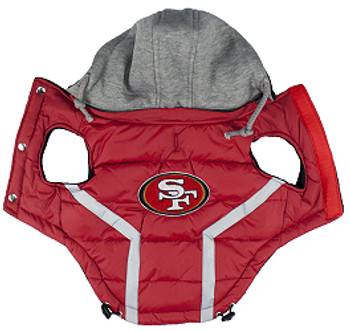NFL San Francisco 49ers Licensed Dog Puffer Vest Coat - S - 3X
