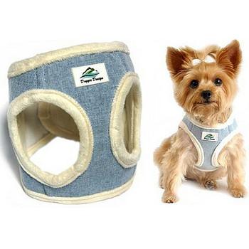 American River Washed Blue Jean & Cream Minky Choke Free Dog Harness