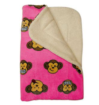 Pink Silly Monkey Ultra-Plush Puppy Dog Blanket