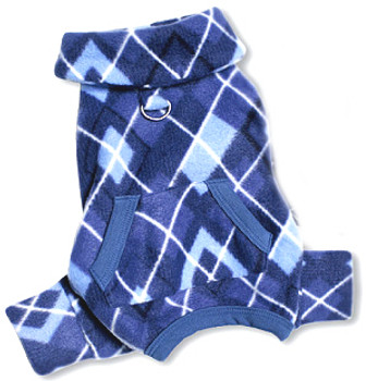 Blue Argyle Turtleneck Fleece Dog Pajamas /Jumpsuit