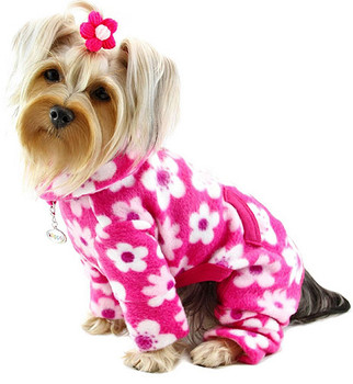 Full Blossom Pink Turtleneck Fleece Dog Pajamas /Jumpsuit