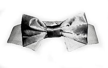 Dog Bow Tie - Silver Satin