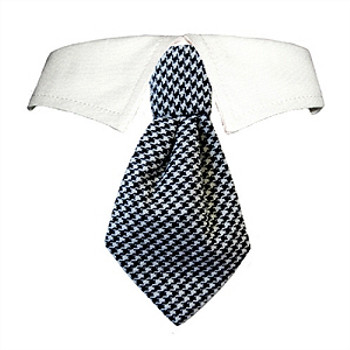 Black Houndstooth Neck Tie & Dog Collar