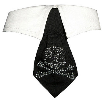 Crossbones Crystal Dog Neck Tie & Dog Collar