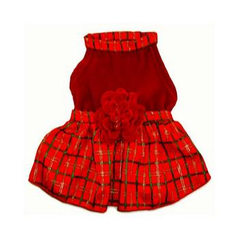 Red Plaid and Velveteen Dog Dress